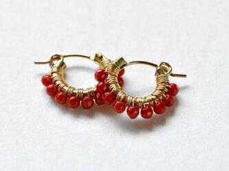 [PE] Coral《S》Basic Hoop Pierced Earringの画像