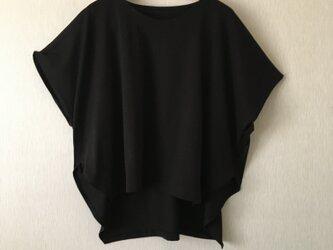 天竺カットソー前後差ポンチョ風ゆったりTシャツ黒Fの画像
