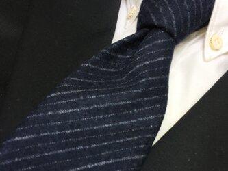イタリアンウールふっくら起毛レジメンタルネクタイ ネイビー/ブラック/濃紺/黒/ストライプの画像
