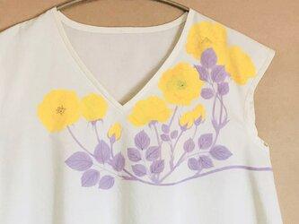 手描きの薔薇の花 ブラウス -黄色の画像