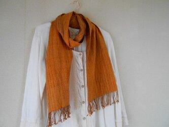 リバーシブルマフラー シルク100% 手紡ぎ・手織り オレンジ×茶の画像