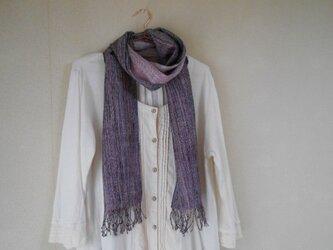 リバーシブルマフラー シルク100% 手紡ぎ・手織り 紺系×薄紫の画像