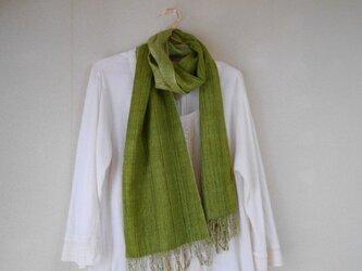 リバーシブルマフラー シルク100% 手紡ぎ・手織り グリーン×黄緑の画像