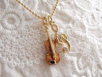 バイオリンとト音記号のネックレス  2435-*の画像