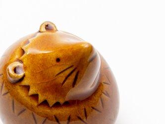 置物 ハリネズミ丸(小)飴色の画像