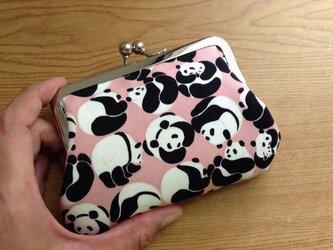 【受注制作】ころころパンダ - がま口ポーチ/クレジットカードケースの画像