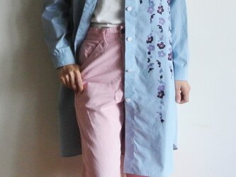 ロングシャツ ギンガムチェック水色 <枝垂れ梅>の画像