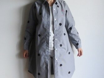 ロングシャツ ギンガムチェック黒 <水玉と梅>の画像
