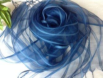 【藍染め】シルク&ビスコースストール の画像