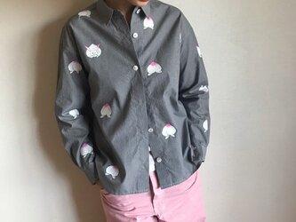 ギンガムチェックシャツ黒 <桃と真向き兎>の画像