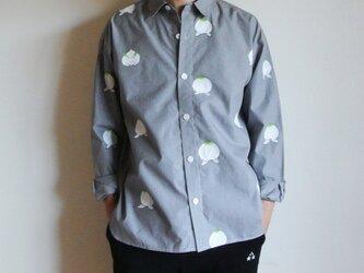 メンズ・ギンガムチェックシャツ黒 <桃と真向き兎>の画像