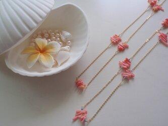 ピンク珊瑚ネックレスの画像