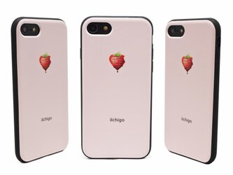 《iIchigo》チョコ いちご ハート  iPhone7/8(4.7インチ) レザーケースフルカバー(ピンク)の画像