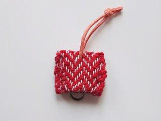 手織り キーカバー キーケース ヘリンボーン織り 赤の画像