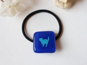 ブルーの猫ちゃん*ガラスのヘアゴムの画像