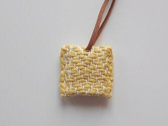 手織り キーカバー キーケース ヘリンボーン織り イエロー  黄色の画像