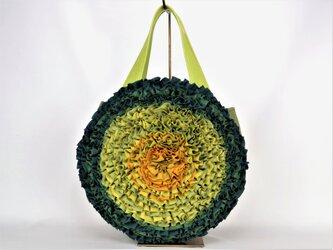 お花ラウンドバッグ:グリーン 着物リメイク リネンバッグ 送料無料 1808B03の画像