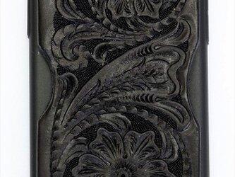 iPhoneXカバー(カードフォルダー付き・フルブラックカービング)の画像