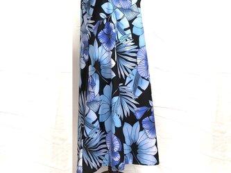 ハワイアン ノースリーブ・ワンピース 9号 ハイビスカス柄 ブルー [hno-192s09]の画像