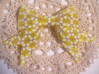 アーガイル模様のリボン【黄色】の画像