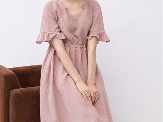 【M】フリル衿と袖口で大人可愛いロングワンピース♪の画像