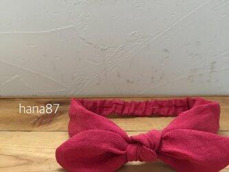 リネン リボンヘアバンド レッドの画像