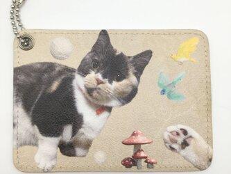 オーダーメイド パスケース 定期入れ 猫 子ども ペット メモリアル 名入れ ユニセックス プレゼント 犬 うちの子の画像