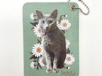 オーダーメイド パスケース 定期入れ 猫 子ども ペット メモリアル 名入れ フルオーダー プレゼント 犬 うちの子の画像