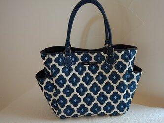 サイドポケットバッグS(フランス生地 テヴノンThevenon社「ビッグバン」:ブルー)の画像