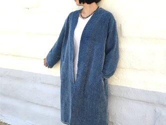 L~3Lサイズ、刺し子のヘンプローブコート、ロングコート、羽織コートの画像