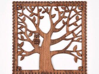 ウッドフレーム「フクロウと木」(木の壁飾り Wooden Wall Decoration)の画像