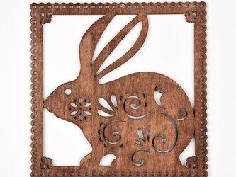 ウッドフレーム「ウサギ」(木の壁飾り Wooden Wall Decoration)の画像