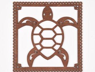 ウッドフレーム「ウミガメ」(木の壁飾り Wooden Wall Decoration)の画像