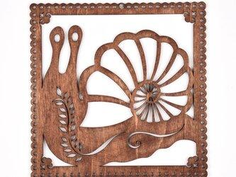 ウッドフレーム「カタツムリ」(木の壁飾り Wooden Wall Decoration)の画像