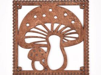 ウッドフレーム「キノコ」(木の壁飾り Wooden Wall Decoration)の画像