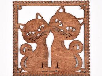 ウッドフレーム「キャッツ」(木の壁飾り Wooden Wall Decoration)の画像