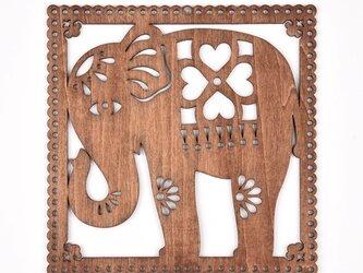 ウッドフレーム「ゾウ」(木の壁飾り Wooden Wall Decoration)の画像