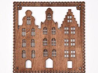 ウッドフレーム「タウン」(木の壁飾り Wooden Wall Decoration)の画像
