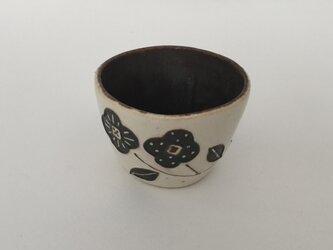 花カップ(白×茶)の画像