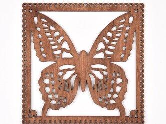 ウッドフレーム「蝶」(木の壁飾り Wooden Wall Decoration)の画像