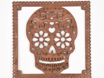ウッドフレーム「ドクロ」(木の壁飾り Wooden Wall Decoration)の画像