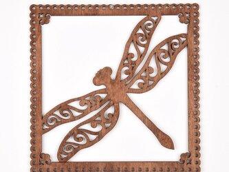 ウッドフレーム「トンボ」(木の壁飾り Wooden Wall Decoration)の画像
