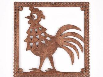 ウッドフレーム「ニワトリ」(木の壁飾り Wooden Wall Decoration)の画像