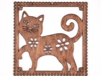 ウッドフレーム「ネコ」(木の壁飾り Wooden Wall Decoration)の画像