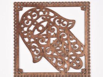 ウッドフレーム「ハムサ」(木の壁飾り Wooden Wall Decoration)の画像