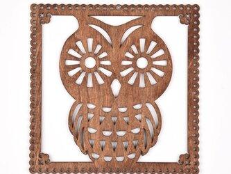 ウッドフレーム「フクロウ」(木の壁飾り Wooden Wall Decoration)の画像
