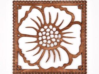 ウッドフレーム「フラワー」(木の壁飾り Wooden Wall Decoration)の画像