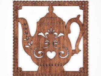 ウッドフレーム「ポット」(木の壁飾り Wooden Wall Decoration)の画像