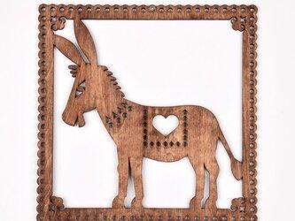 ウッドフレーム「ロバ」(木の壁飾り Wooden Wall Decoration)の画像