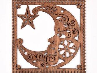 ウッドフレーム「月と星」(木の壁飾り Wooden Wall Decoration)の画像